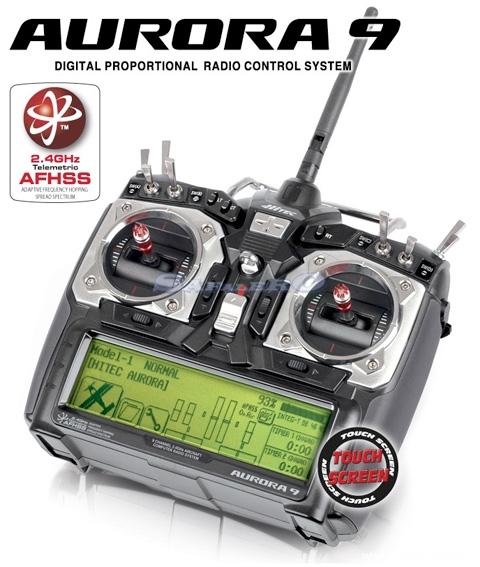 hitec-aurora-9-radiocomando-24ghz-mode1-rx-9-con-display-touch-screen