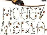 Una font tipografica realizzata con tracciati di treni in scala