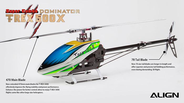 Elicottero T Rex 500 : Align t rex dominator combo bizmodel hobbymedia
